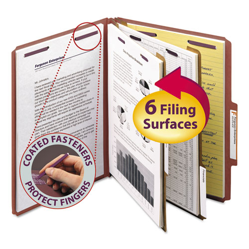 PRESSBOARD CLASSIFICATION FOLDERS WITH SAFESHIELD COATED FASTENERS, 2/5 CUT, 2 DIVIDERS, LETTER SIZE, RED, 10/BOX