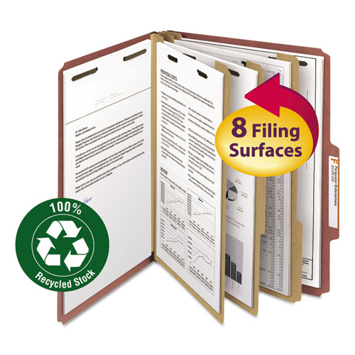 100% RECYCLED PRESSBOARD CLASSIFICATION FOLDERS, 3 DIVIDERS, LETTER SIZE, RED, 10/BOX