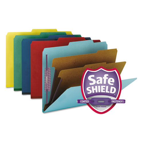 SIX-SECTION PRESSBOARD TOP TAB CLASSIFICATION FOLDERS WITH SAFESHIELD FASTENERS, 2 DIVIDERS, LETTER SIZE, ASSORTED, 10/BOX