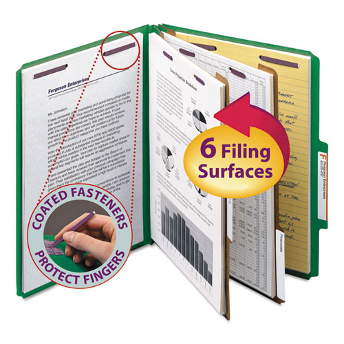 SIX-SECTION PRESSBOARD TOP TAB CLASSIFICATION FOLDERS WITH SAFESHIELD FASTENERS, 2 DIVIDERS, LETTER SIZE, GREEN, 10/BOX