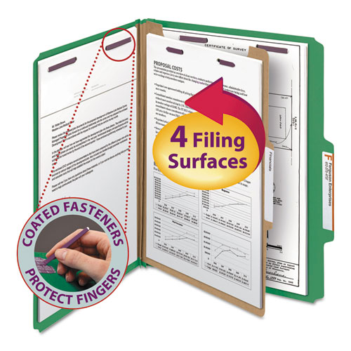 FOUR-SECTION PRESSBOARD TOP TAB CLASSIFICATION FOLDERS WITH SAFESHIELD FASTENERS, 1 DIVIDER, LETTER SIZE, GREEN, 10/BOX