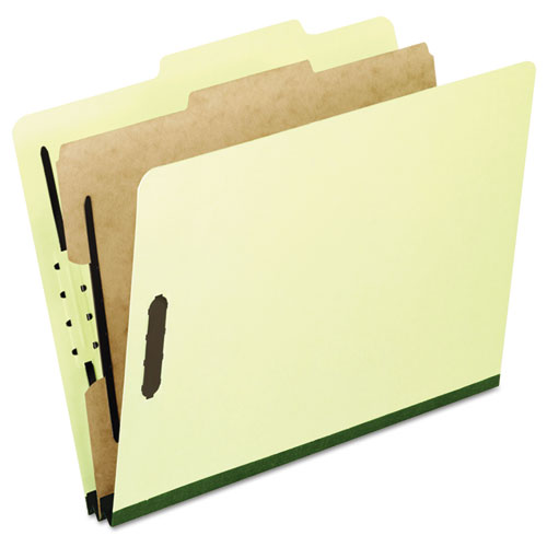 FOUR-, SIX-, AND EIGHT-SECTION PRESSBOARD CLASSIFICATION FOLDERS, 1 DIVIDER, EMBEDDED FASTENERS, LEGAL, LIGHT GREEN, 10/BOX