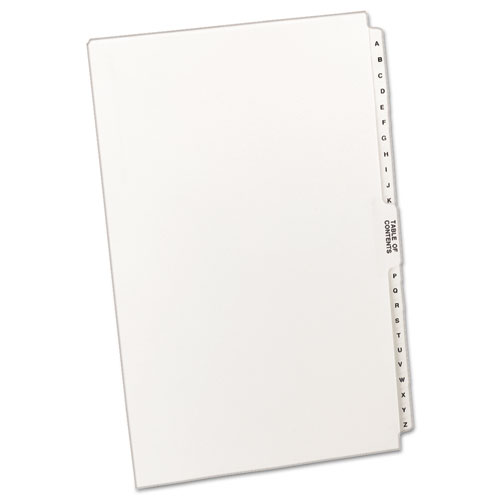 PREPRINTED LEGAL EXHIBIT SIDE TAB INDEX DIVIDERS, AVERY STYLE, 27-TAB, A TO Z, 14 X 8.5, WHITE, 1 SET