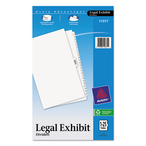PREPRINTED LEGAL EXHIBIT SIDE TAB INDEX DIVIDERS, AVERY STYLE, 26-TAB, 1 TO 25, 14 X 8.5, WHITE, 1 SET