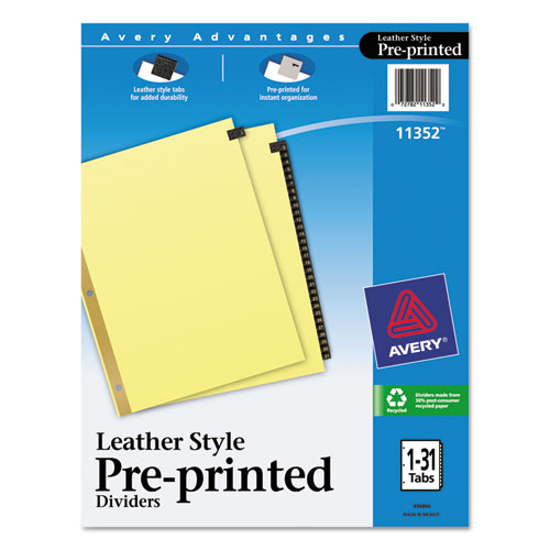 Preprinted Black Leather Tab Dividers W/gold Reinforced Edge, 31-Tab, Ltr