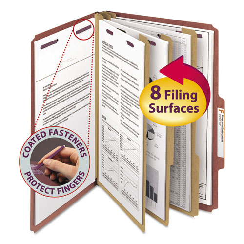 PRESSBOARD CLASSIFICATION FOLDERS WITH SAFESHIELD COATED FASTENERS, 2/5 CUT, 3 DIVIDERS, LEGAL SIZE, RED, 10/BOX