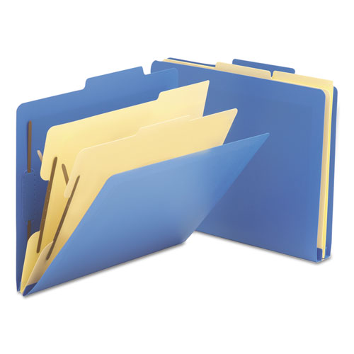 SIX-SECTION POLY CLASSIFICATION FOLDERS, 2 DIVIDERS, LETTER SIZE, BLUE, 10/BOX