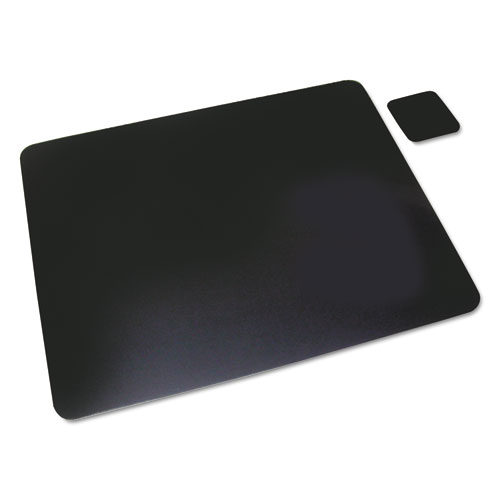 Leather Desk Pad W/coaster, 20 X 36, Black
