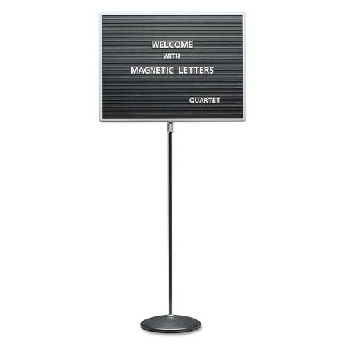 Adjustable Single-Pedestal Magnetic Letter Board, 24 X 18, Black, Gray Frame