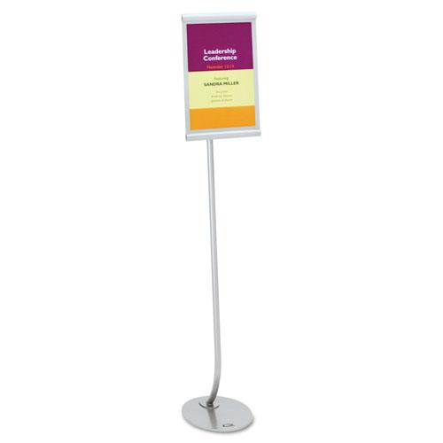 Designer Sign Stand, Silver Aluminum Frame, 11 X 17