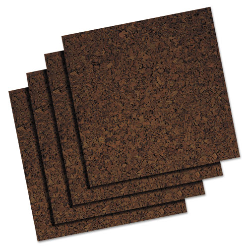 Acco Brands Corporation Quartet Extra Thick Dark Cork Panels - 12 Height X 12 Width - Brown Cork Surface - Self-stick, Self-healing - 4 / Pack