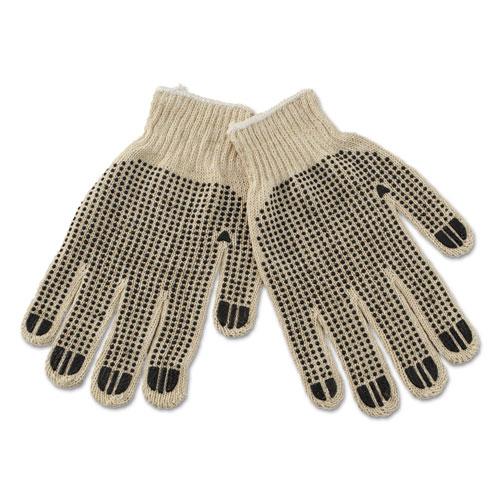 Pvc-Dotted String Knit Gloves, Large, Dozen