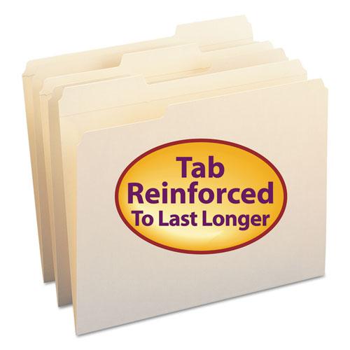 REINFORCED TAB MANILA FILE FOLDERS, 1/3-CUT TABS, LETTER SIZE, 11 PT. MANILA, 100/BOX