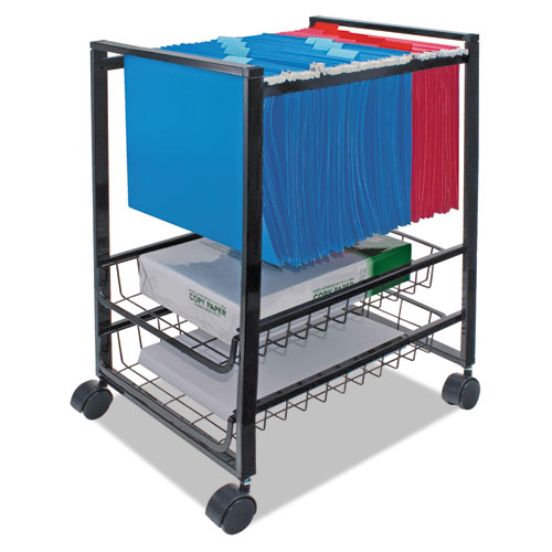 Image for MOBILE FILE CART W/SLIDING BASKETS, 12.88W X 15D X 21.13H, BLACK