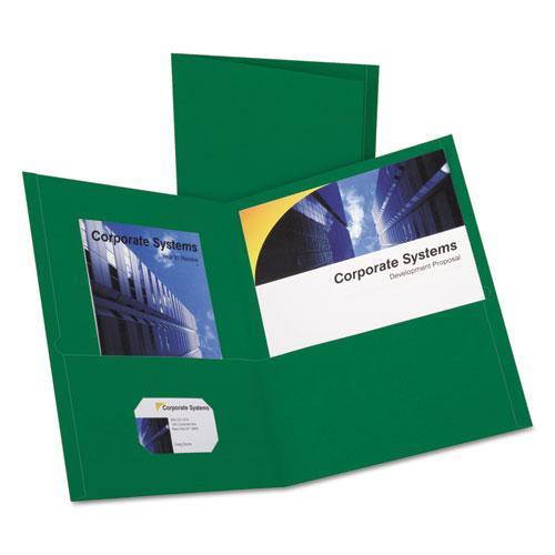 Twin-Pocket Folder, Embossed Leather Grain Paper, Hunter Green, 25/box