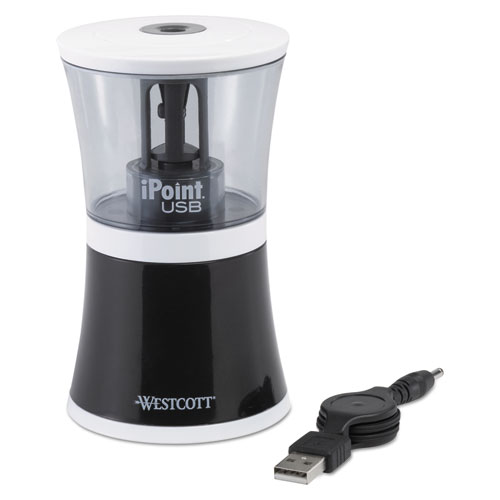 IPOINT USB/BATTERY OPERATED PENCIL SHARPENER, BLACK, 5 7/8W X 3 1/8D X 8 1/2H