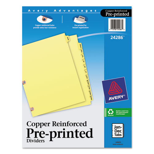 Preprinted Laminated Tab Dividers W/copper Reinforced Holes, 12-Tab, Letter