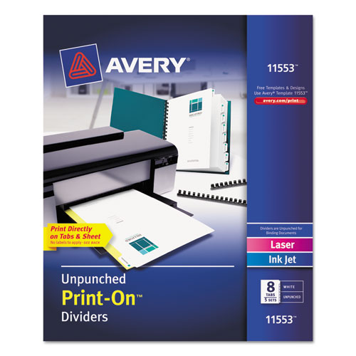 Customizable Print-On Dividers, 8-Tab, Letter, 5 Sets