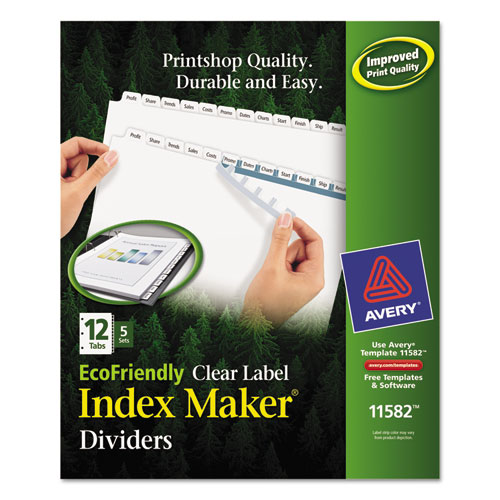 INDEX MAKER ECOFRIENDLY PRINT AND APPLY CLEAR LABEL DIVIDERS WITH WHITE TABS, 12-TAB, 11 X 8.5, WHITE, 5 SETS
