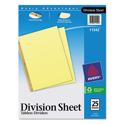 Untabbed Sheet Dividers, Untabbed, Letter