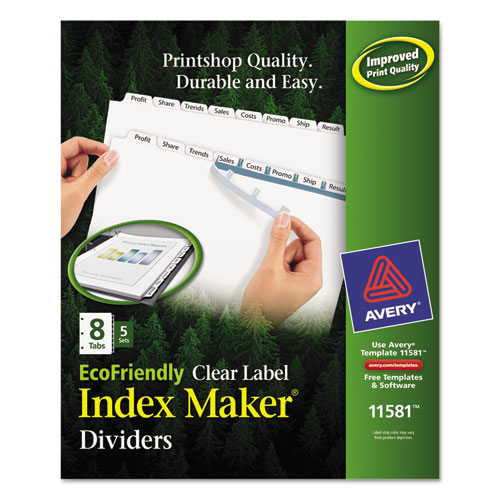 INDEX MAKER ECOFRIENDLY PRINT AND APPLY CLEAR LABEL DIVIDERS WITH WHITE TABS, 8-TAB, 11 X 8.5, WHITE, 5 SETS