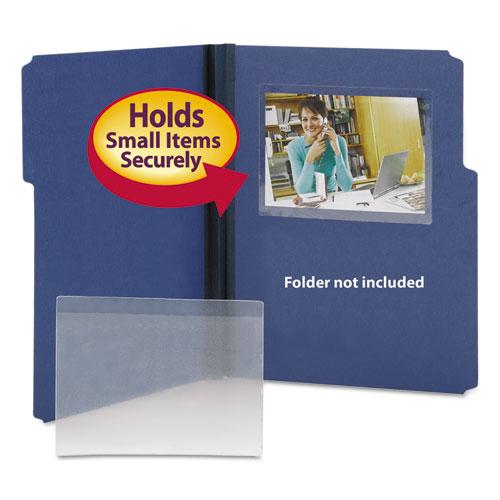 Self-Adhesive Poly Pockets, Top Load, 6-1/4 X 4-9/16, Clear, 100/box