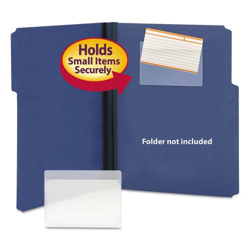 Self-Adhesive Poly Pockets, Top Load, 5-5/16 X 3-5/8, Clear, 100/box