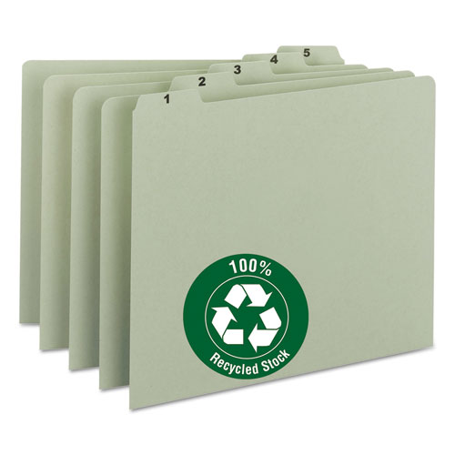 Image for 100% RECYCLED DAILY TOP TAB FILE GUIDE SET, 1/5-CUT TOP TAB, 1 TO 31, 8.5 X 11, GREEN, 31/SET