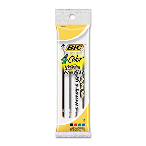 Image for REFILL FOR BIC 4-COLOR RETRACTABLE BALLPOINT PENS, MEDIUM POINT, ASSORTED INK COLORS, 4/PACK
