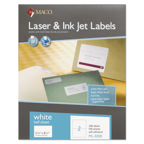 WHITE LASER/INKJET INTERNET SHIPPING LABELS, INKJET/LASER PRINTERS, 5.5 X 8.5, WHITE, 2/SHEET, 100 SHEETS/BOX