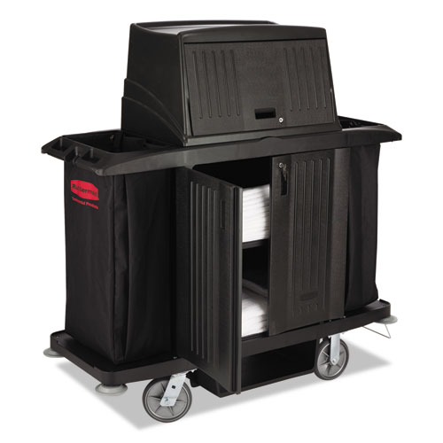 Image for FULL SIZE HOUSEKEEPING CART WITH DOORS, 22W X 60D X 67.5H, BLACK