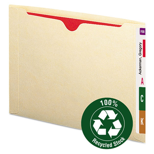 Image for 100% RECYCLED END TAB JACKETS, STRAIGHT TAB, LETTER SIZE, MANILA, 50/BOX