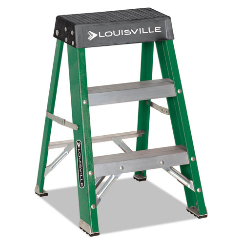 Image for #624 FOLDING FIBERGLASS LOCKING 2-STEP STOOL, 17W X 22 SPREAD X 24H, ALUMINUM/GREEN/YELLOW