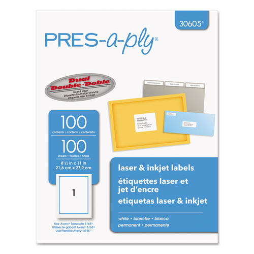 LABELS, LASER PRINTERS, 8.5 X 11, WHITE, 100/BOX