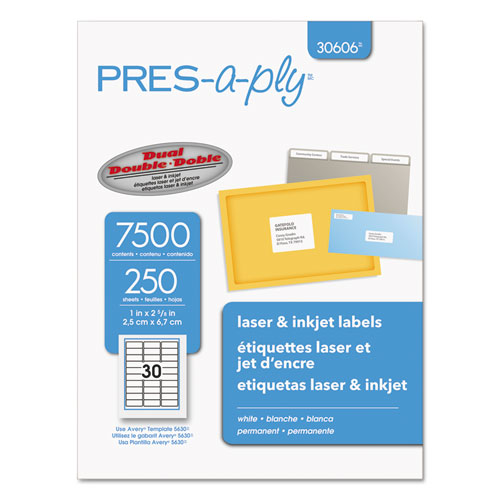 LABELS, LASER PRINTERS, 1 X 2.63, WHITE, 30/SHEET, 250 SHEETS/BOX