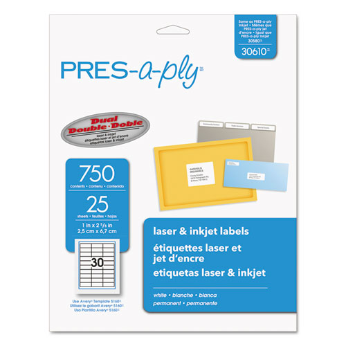 LABELS, LASER PRINTERS, 1 X 2.63, WHITE, 30/SHEET, 25 SHEETS/PACK