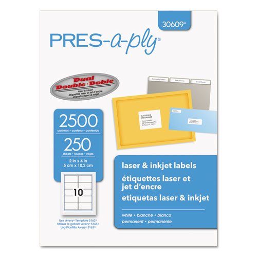 LABELS, LASER PRINTERS, 2 X 4, WHITE, 10/SHEET, 250 SHEETS/BOX