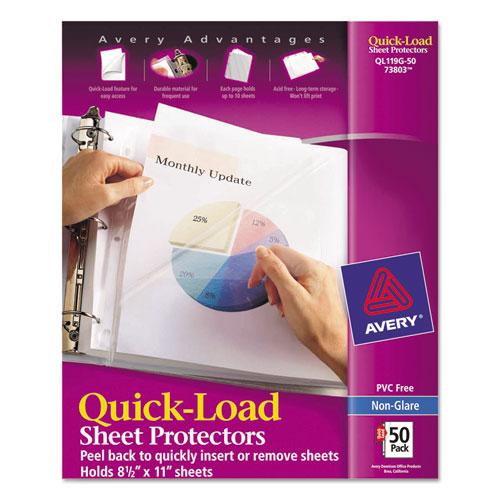 Quick Top & Side Loading Sheet Protectors, Letter, Non-Glare, 50/box