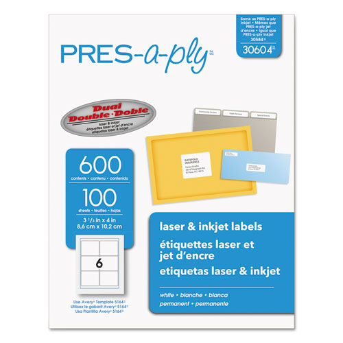 LABELS, LASER PRINTERS, 3.33 X 4, WHITE, 6/SHEET, 100 SHEETS/BOX