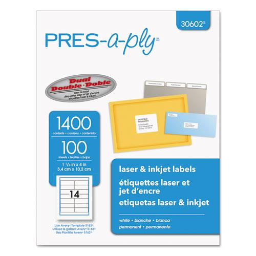 LABELS, LASER PRINTERS, 1.33 X 4, WHITE, 14/SHEET, 100 SHEETS/BOX