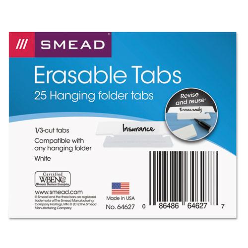 ERASABLE HANGING FOLDER TABS, 1/3-CUT TABS, WHITE, 3.5
