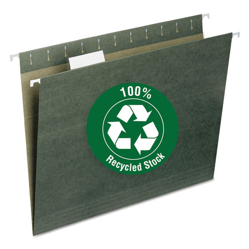 Image for 100% RECYCLED HANGING FILE FOLDERS, LETTER SIZE, 1/5-CUT TAB, STANDARD GREEN, 25/BOX