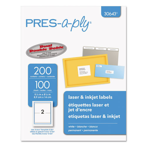 LABELS, INKJET/LASER PRINTERS, 5.5 X 8.5, WHITE, 2/SHEET, 100 SHEETS/PACK