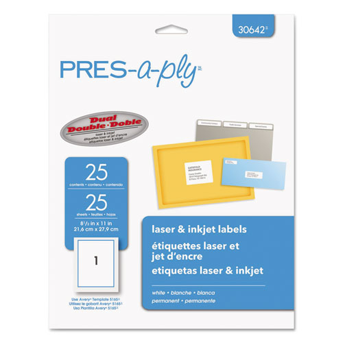 LABELS, INKJET/LASER PRINTERS, 8.5 X 11, WHITE, 25/PACK