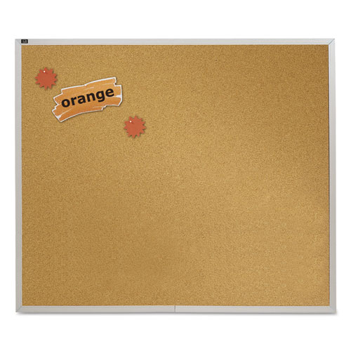 Natural Cork Bulletin Board, 48 X 48, Anodized Aluminum Frame