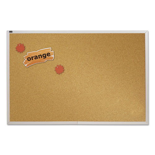 Natural Cork Bulletin Board, 72 X 48, Anodized Aluminum Frame