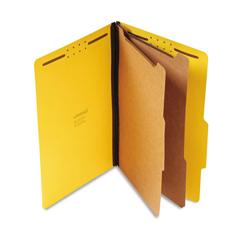 BRIGHT COLORED PRESSBOARD CLASSIFICATION FOLDERS, 2 DIVIDERS, LEGAL SIZE, YELLOW, 10/BOX