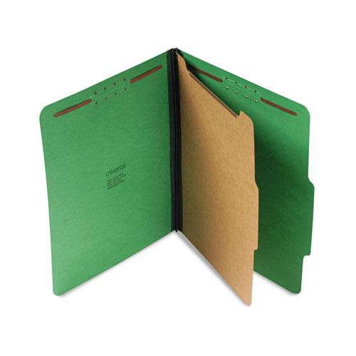 BRIGHT COLORED PRESSBOARD CLASSIFICATION FOLDERS, 1 DIVIDER, LETTER SIZE, EMERALD GREEN, 10/BOX
