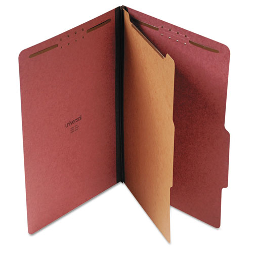 FOUR-SECTION PRESSBOARD CLASSIFICATION FOLDERS, 1 DIVIDER, LEGAL SIZE, RED, 10/BOX