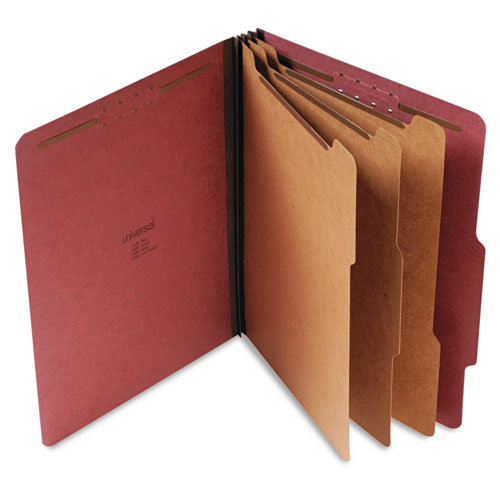 EIGHT-SECTION PRESSBOARD CLASSIFICATION FOLDERS, 3 DIVIDERS, LETTER SIZE, RED, 10/BOX